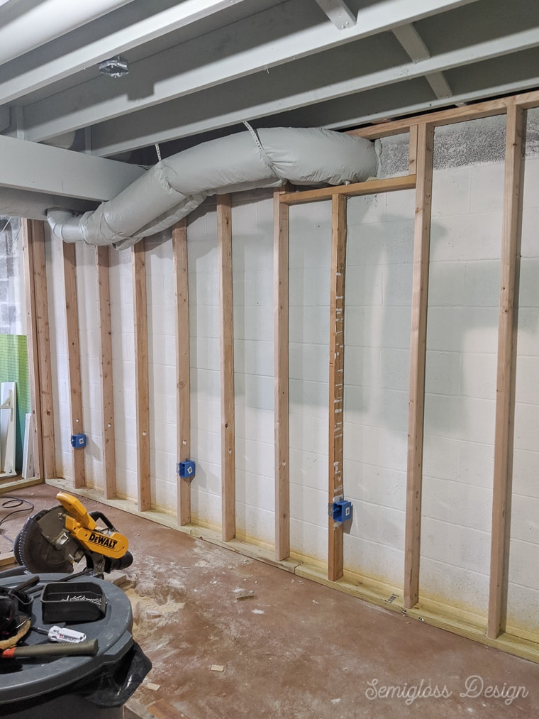 framed walls in basement