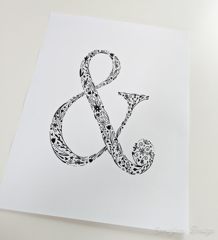 printed floral ampersand art