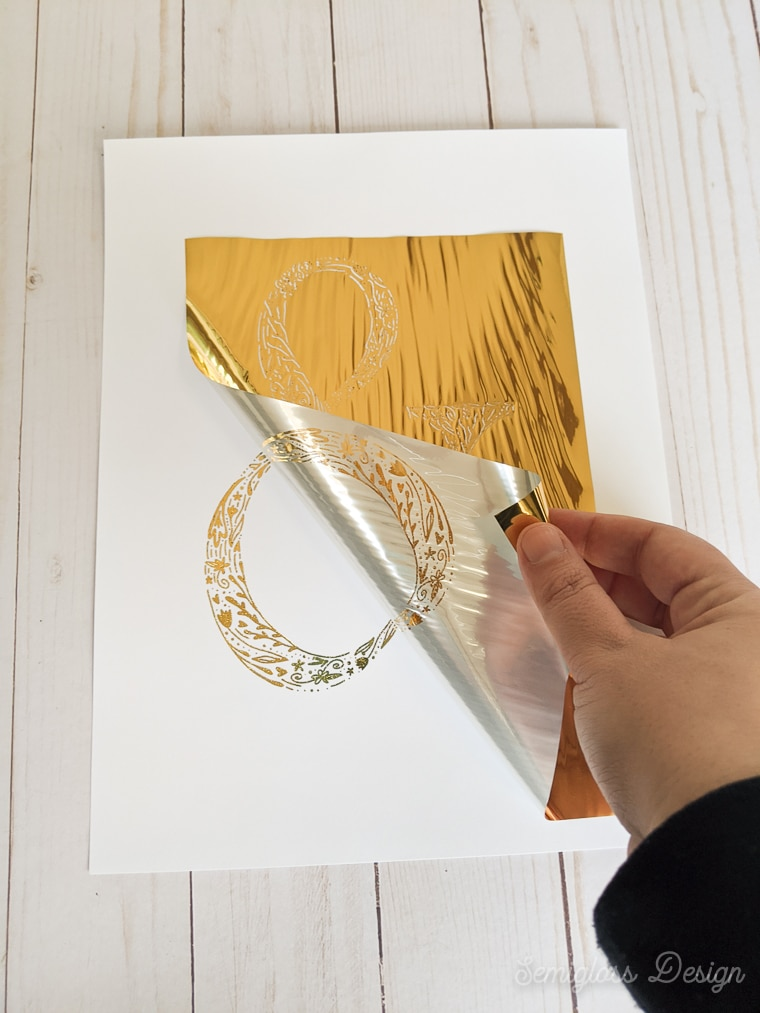 removing foil from art print