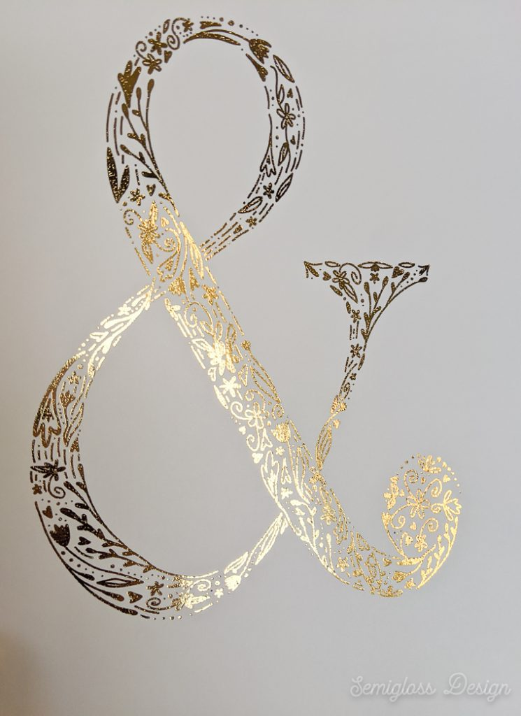 shiny gold foil ampersand art