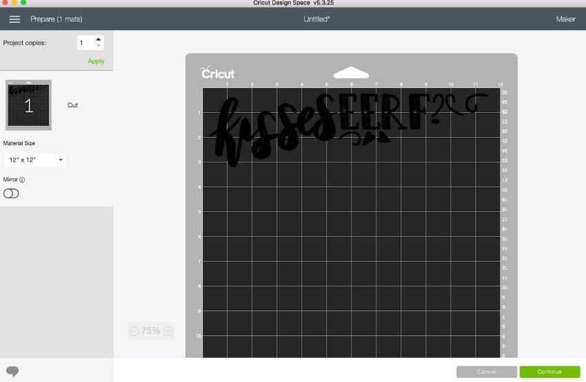 screenshot of cricut design space with scrambled design
