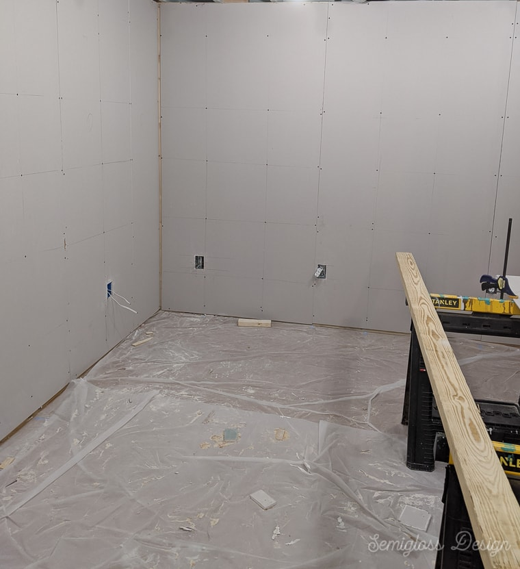 finished drywall panels in basement
