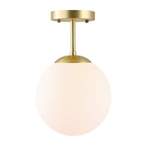 Light Society Zeno Globe Semi Flush Mount Ceiling Light, Matte White with Brass Finish