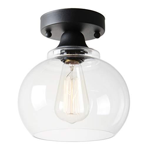 Semi Flush Mount Ceiling Light, Industrial Clear Glass Shade Light Fixture