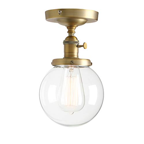 "Permo Vintage Industrial Mini 5.9"" Round Clear Glass Globe Semi Flush Mount Ceiling Light Fixture (Antique)"