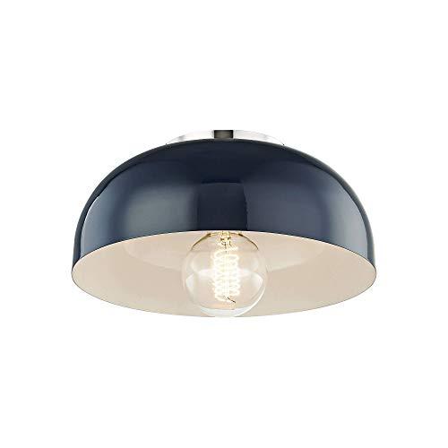 "Mitzi Avery 11""W Polished Nickel Ceiling Light w/Navy Shade"