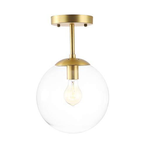 Light Society Zeno Globe Semi Flush Mount Ceiling Light, Clear Glass with Brass Finish, Contemporary Mid Century Modern Style Lighting Fixture (LS-C176-BRS-CLR)