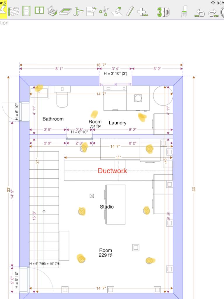 Floor plan of basement with lighting plan