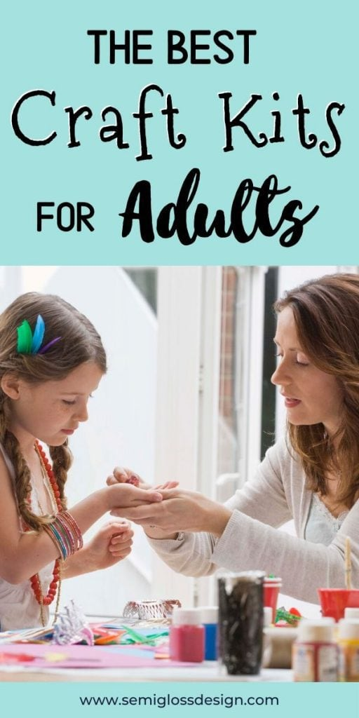 mom and daughter crafting together