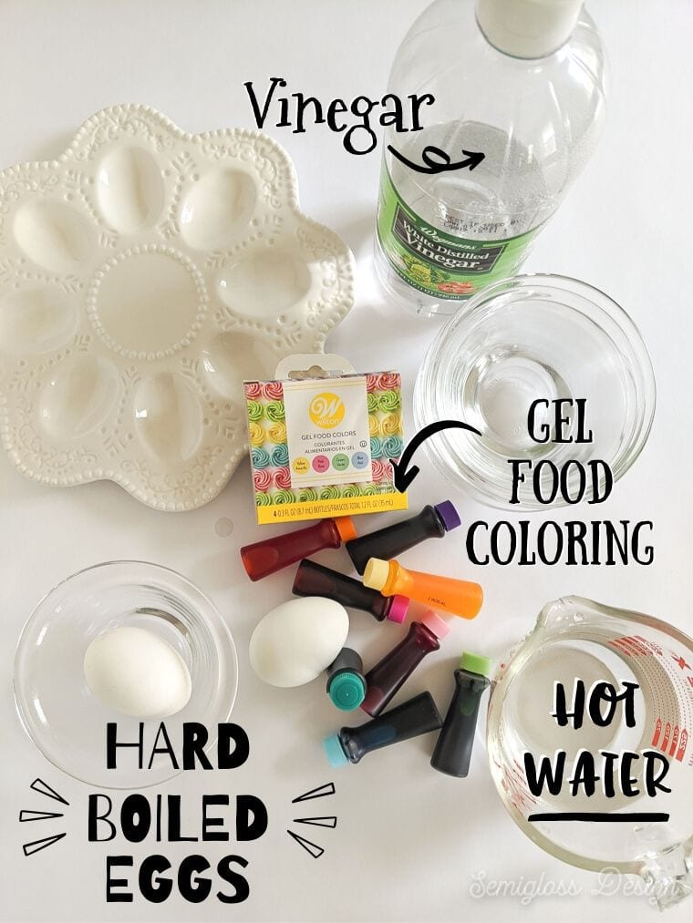 supplies for dyeing eggs with food coloring