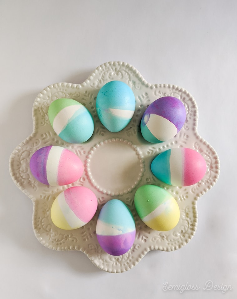 dyed easter eggs on egg plate