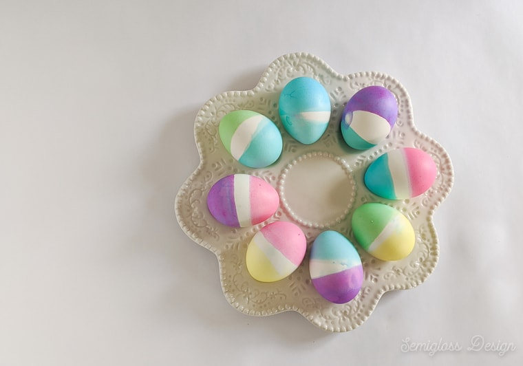 color blocked easter eggs on egg plate