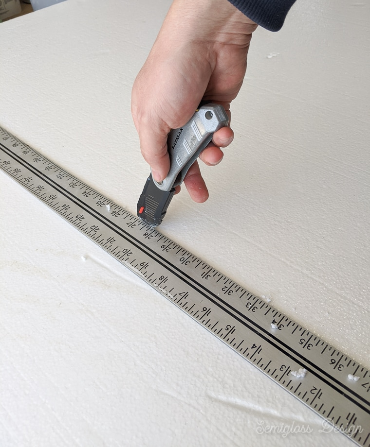 cutting insulation foam board with utility knife