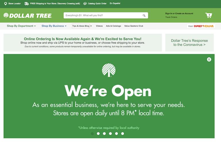 screenshot of dollar tree website