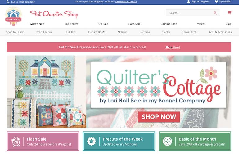screenshot of fat quarter shop home page