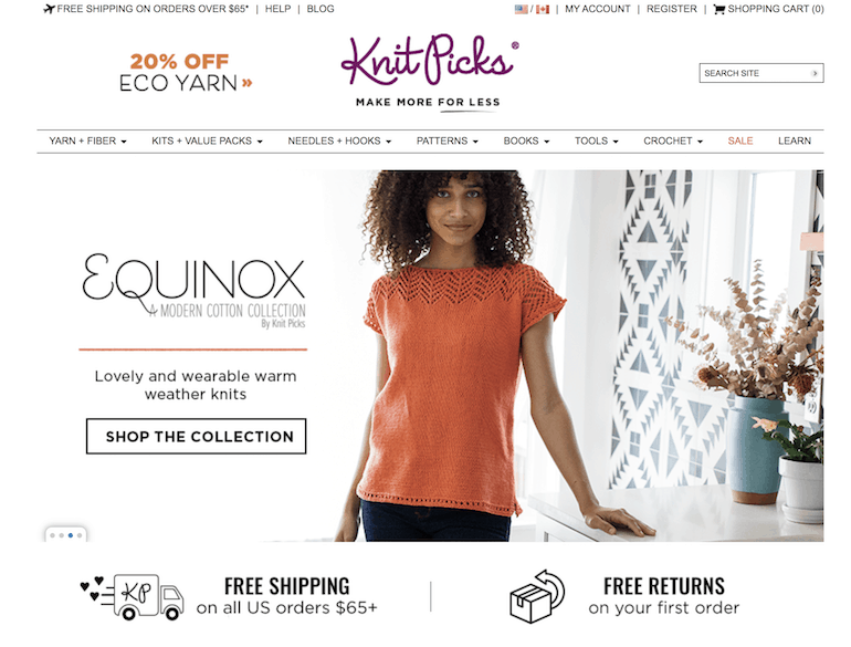 screenshot of knitpicks website