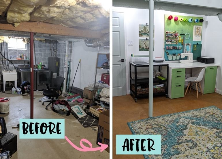 before and after photo of basement craft room renovation