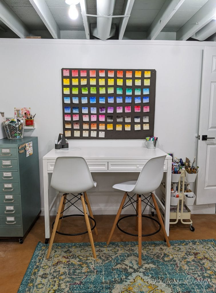 art desk in craft room