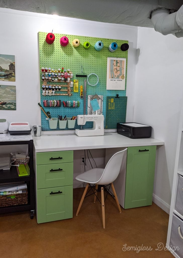 sewing desk amde from ikea sektion cabinets