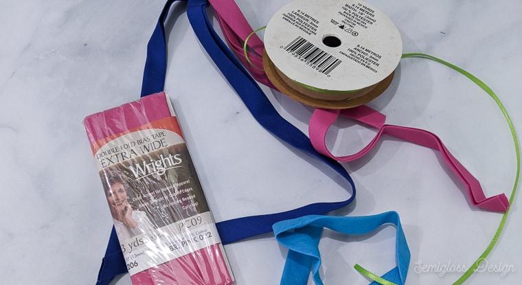 bias tape and ribbon