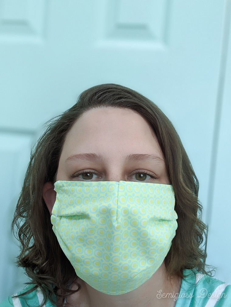 lady in fabric face mask