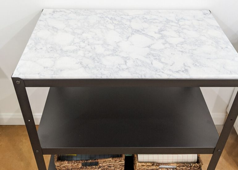 ikea bror hack with faux marble top