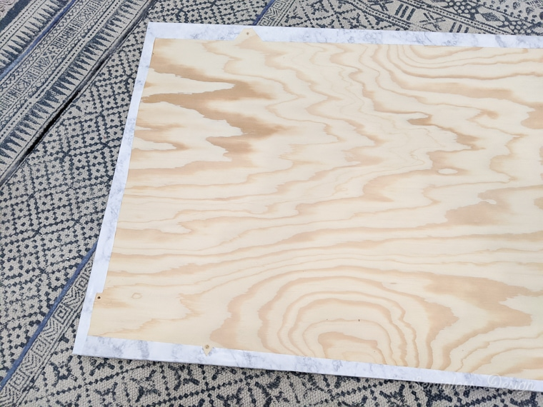 contact paper applied to wood top