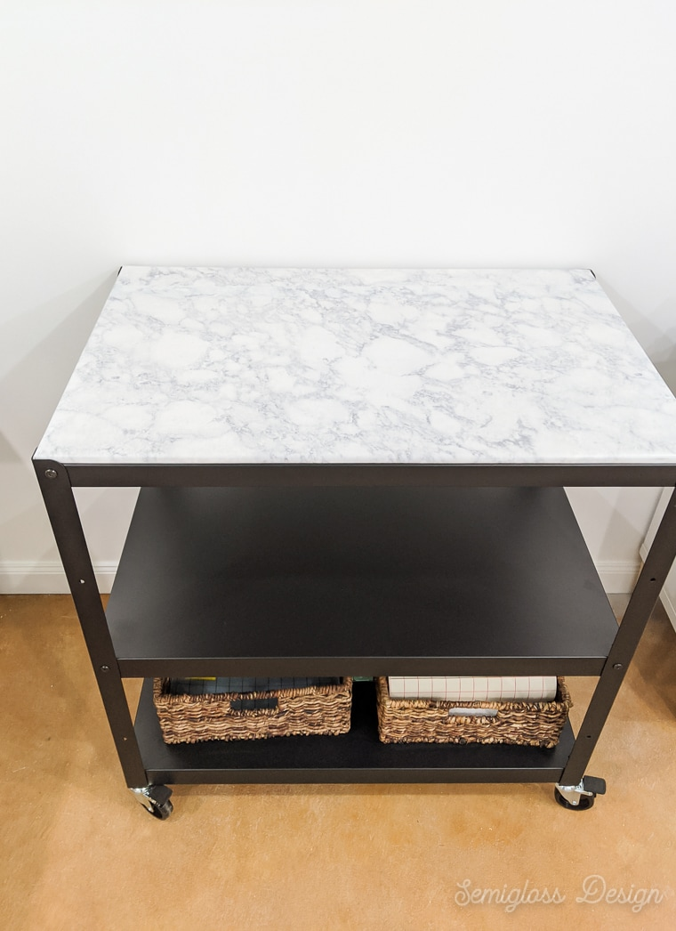 marble contact paper top on metal cart