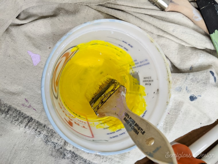 mixxture of yellow paint and glaze