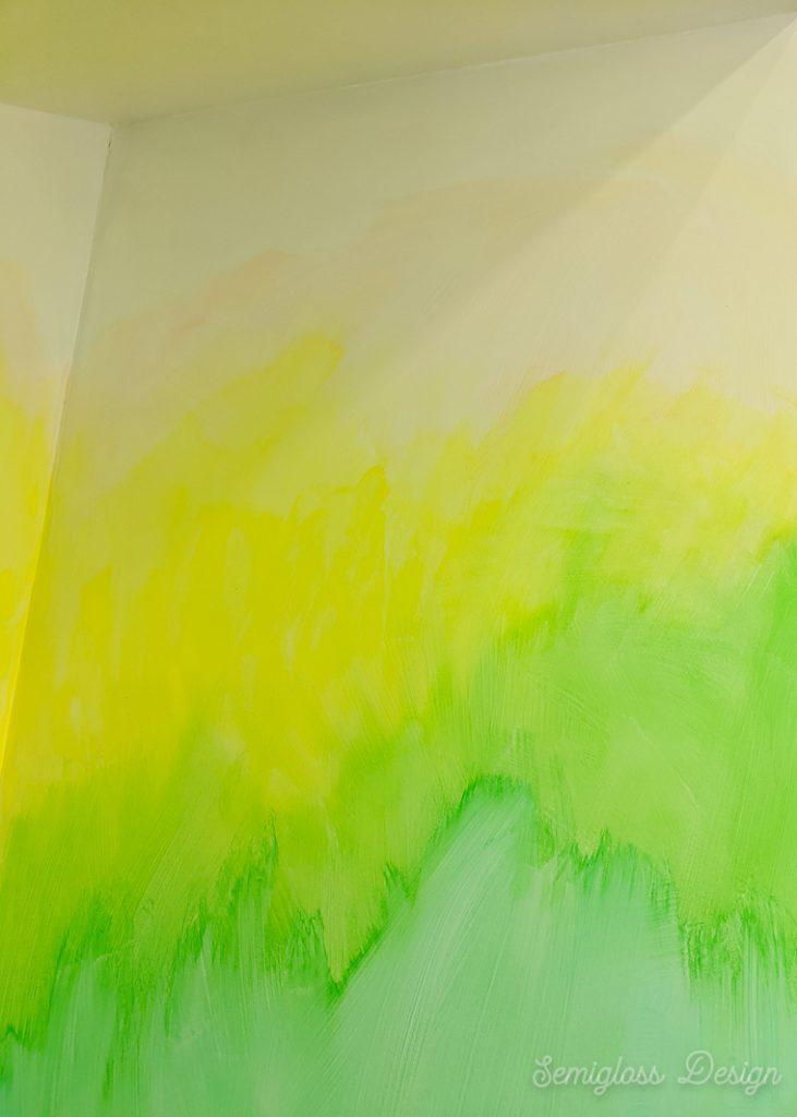 watercolor mural on wall in progress