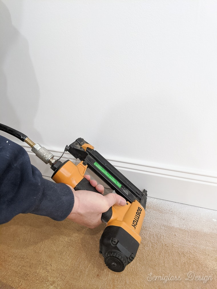 install baseboards with nailgun