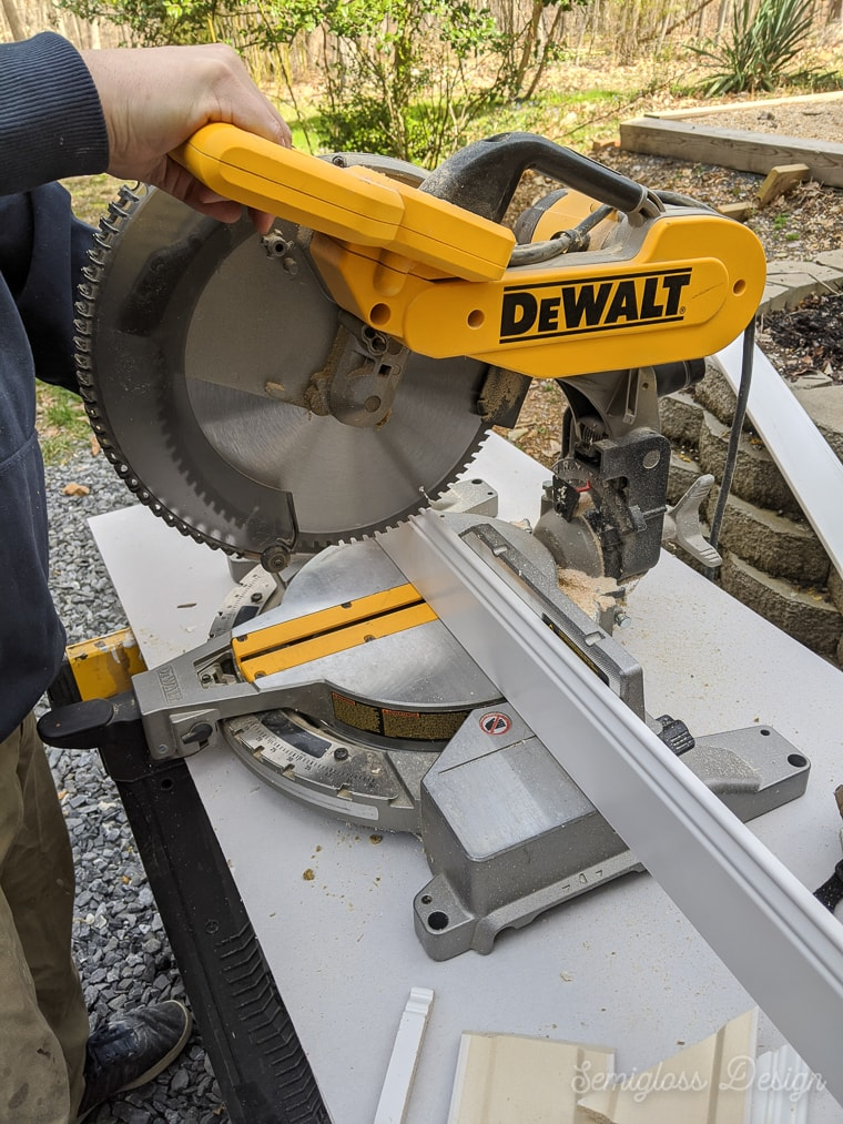 cutting trim with miter saw