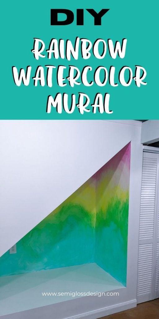 pin image - DIY rainbow watercolor mural