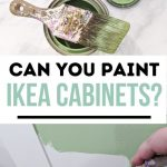 pin image - can of green paint and paint brush and a hand painting a cabinet green