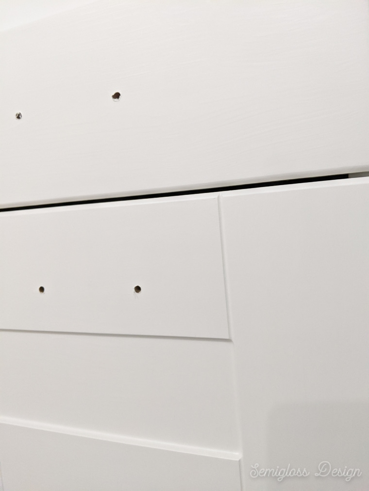 handles removed to paint cabinets