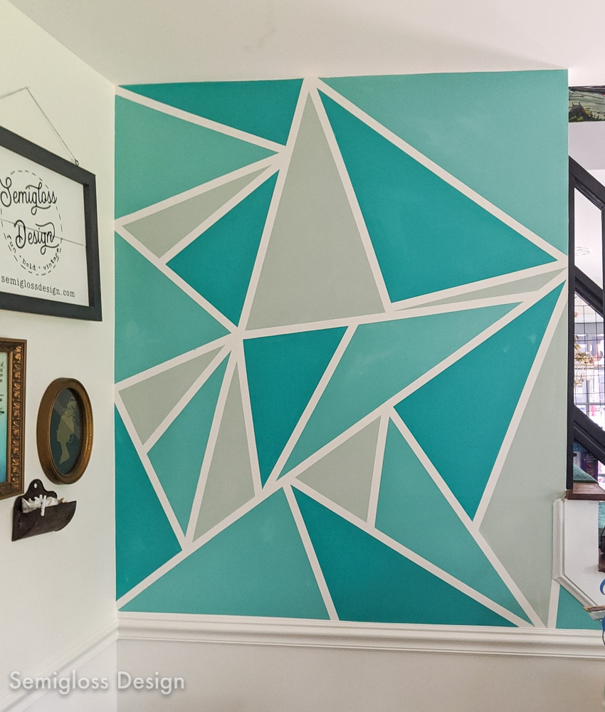 finished teal geometric wall mural