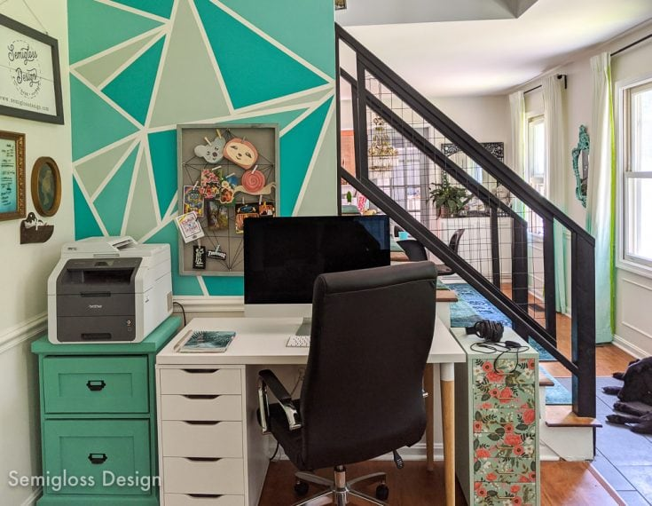 teal geometric accent wall in office nook