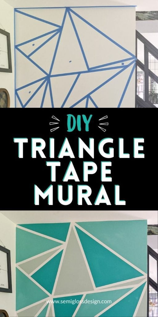 pin image - triangle wall mural with tape collage