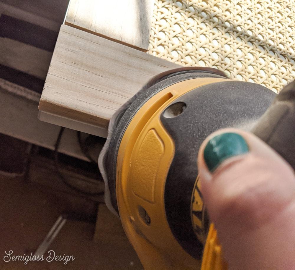 sanding edges of wood