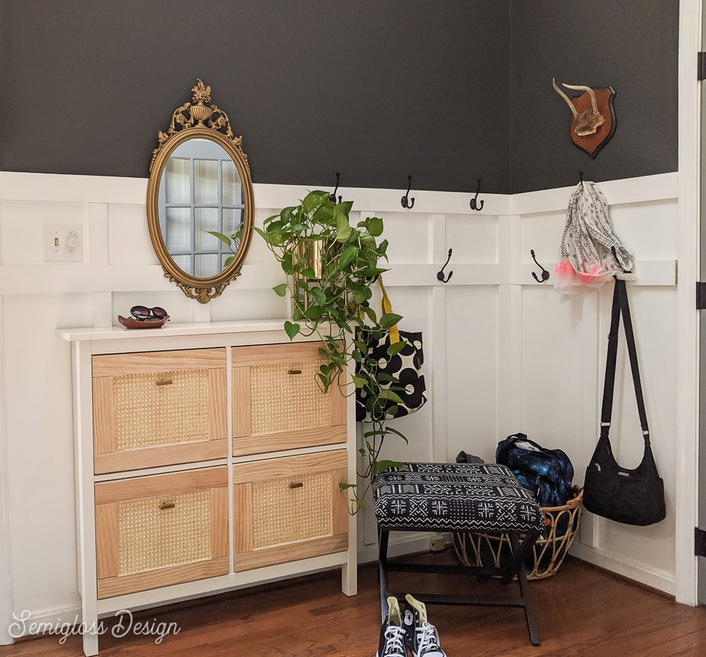 foyer makeover with seating and shoe storage