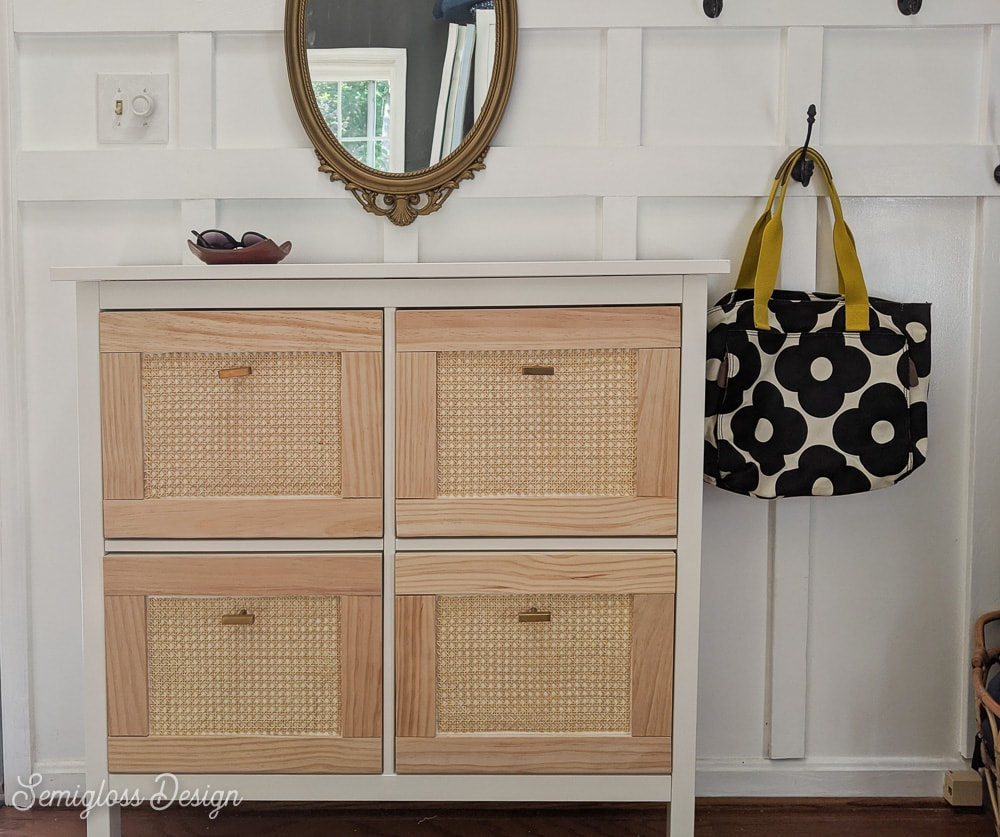 pin image - cane panels on ikea shoe cabinet