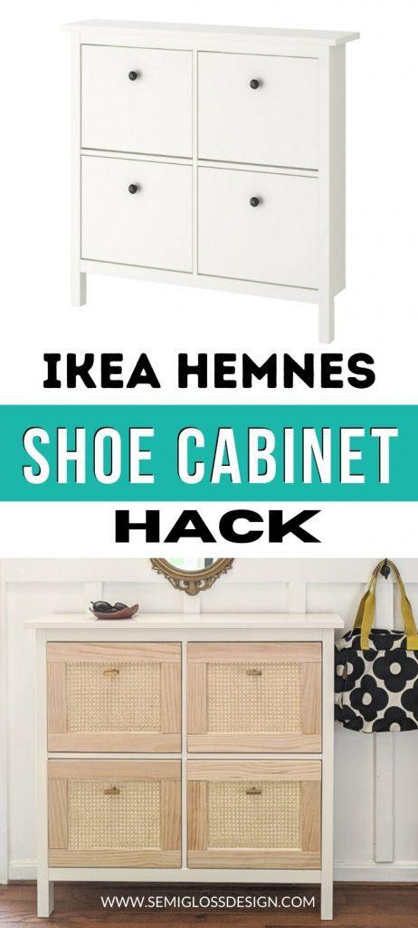 pin image - IKEA hemnes shoe cabinet hack collage