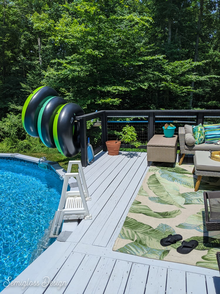 above ground pool next to deck