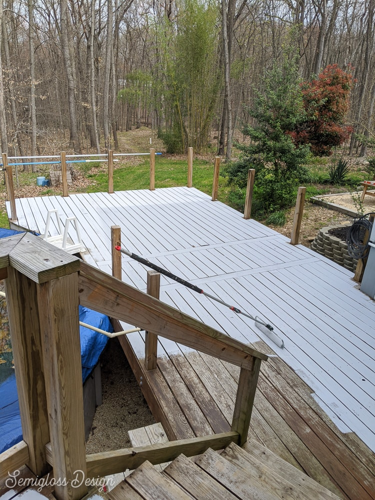 painting deck with gray paint