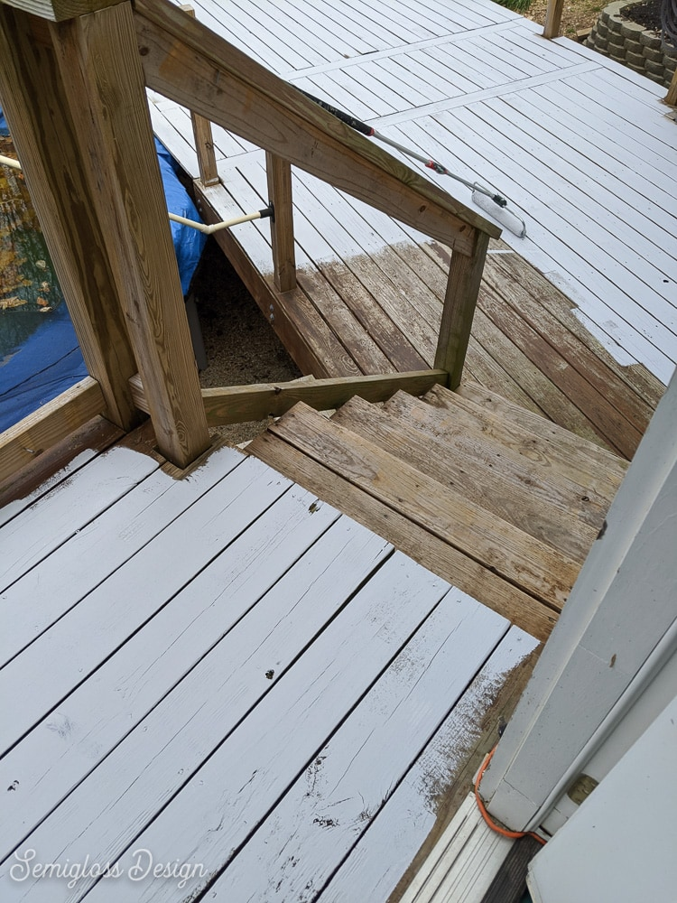deck being painted gray