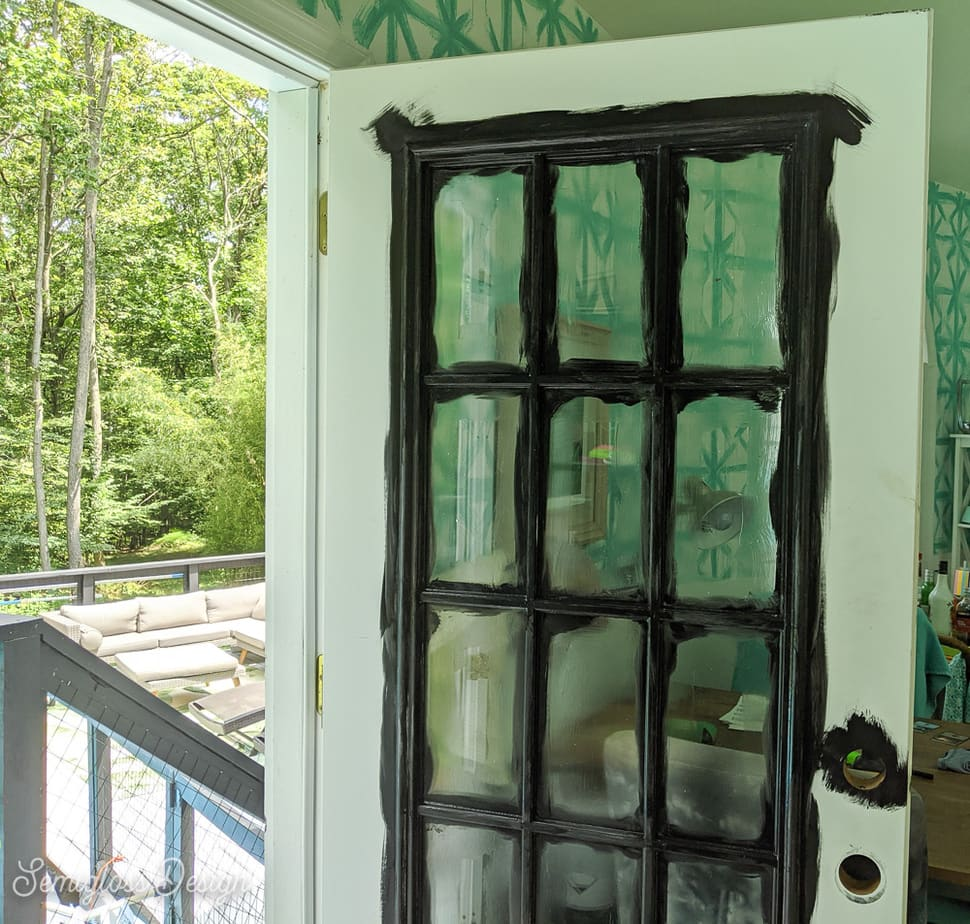 painted grill of French door