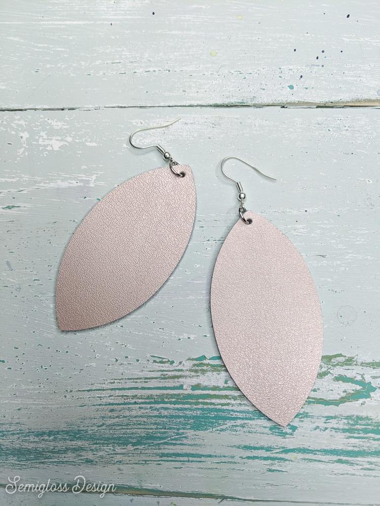 rose gold leather earrings in leaf shape