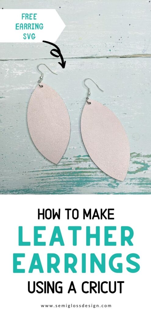 pin image - leather earrings on wood background