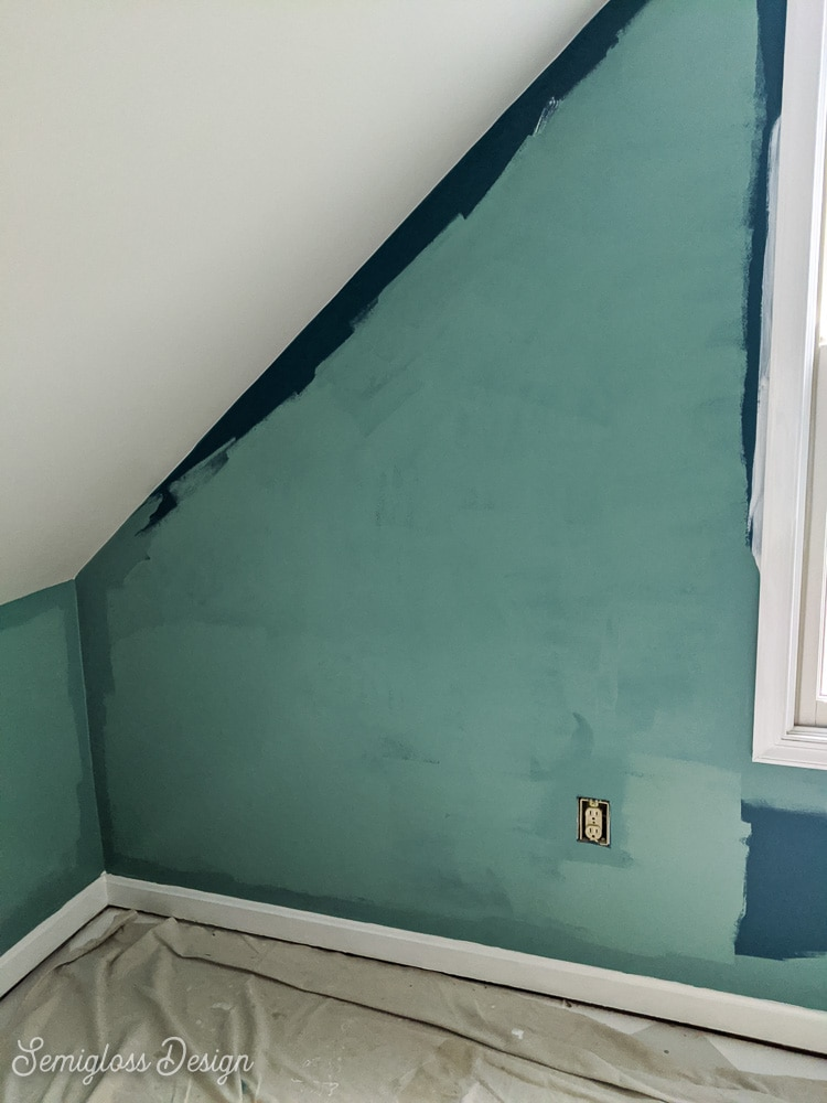 painting a dark wall after one coat of paint (almost full coverage)