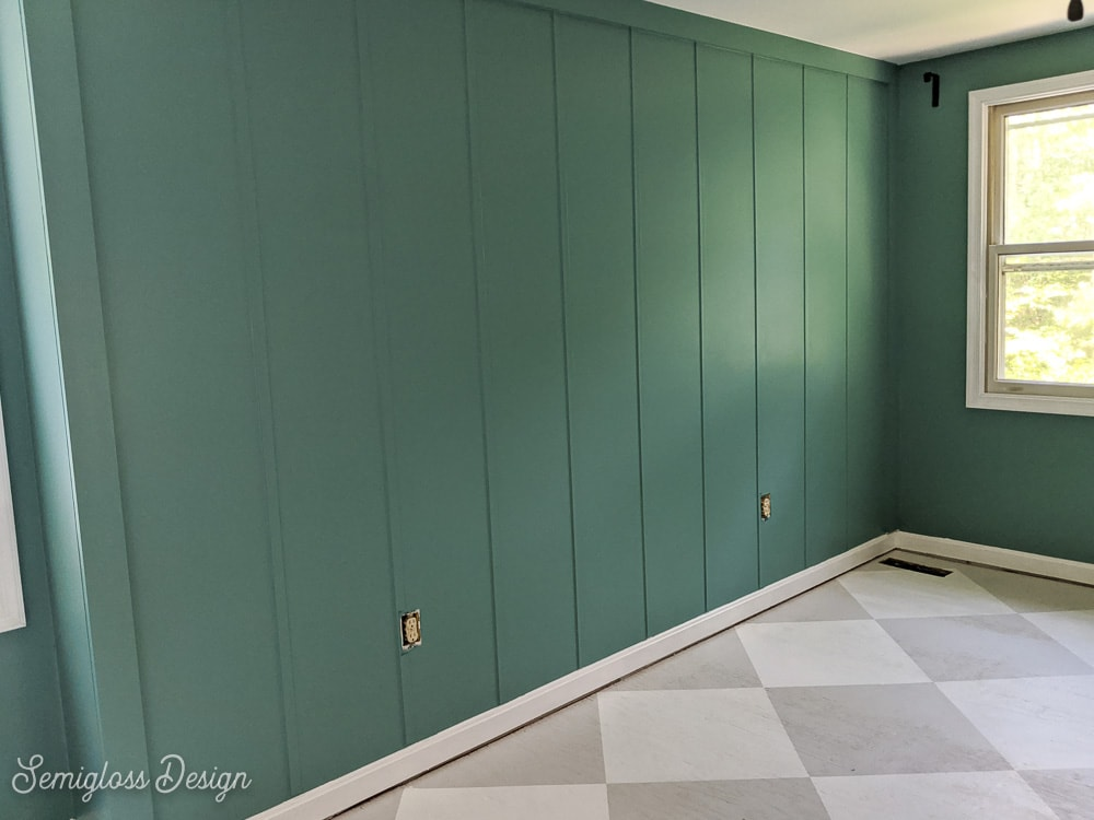 teal board and batten wall